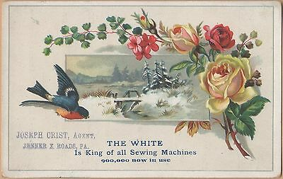 Victorian Trade Card-White Sewing Machine-Cleveland, OH-Bird-Snow Scene-Roses