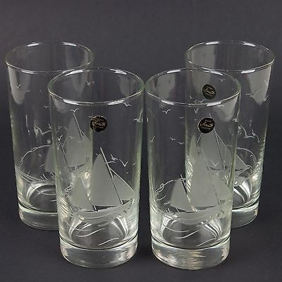 Set (4) Top Shelf by L.E. Smith Etched Sailboat Beverage 12oz Drinking Glasses