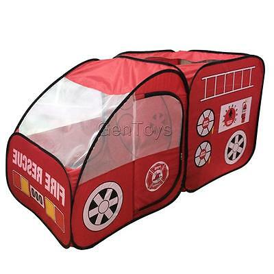 Fire Truck Shaped Play Tent Kids Pop Up Indoor & Outdoor Playhouse Toy Gift