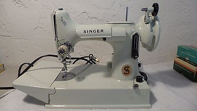 Vintage Singer Featherweight 221 K Sewing Machine with Case and Manual