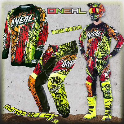 Completo Cross Enduro O'neal Oneal Element Vandal 2017 Black Neon Taglia 34 - L