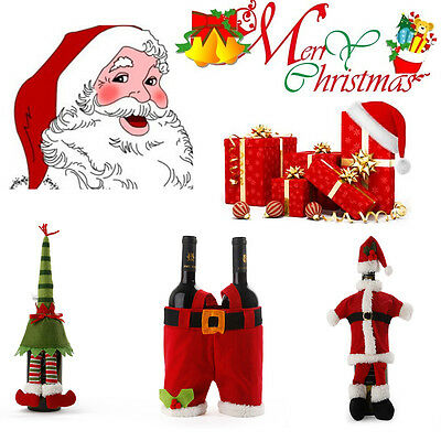 Christmas Santa Claus Knitted Red Wine Bottle Cover Bag  Dinner Xmas Table Decor