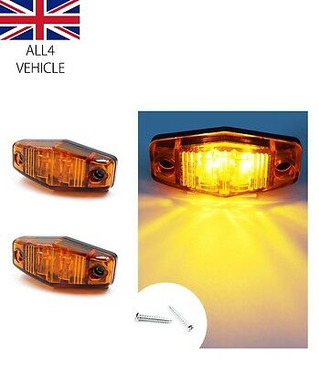 4 X 24V 2 Smd Led Amber Side Marker Lights Chrome For Scania Daf Man Volvo Renau