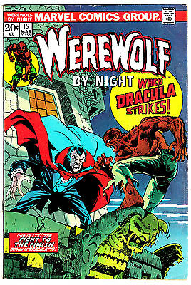 WEREWOLF BY NIGHT #15 (FN/VF) DRACULA Cover Story Appearance! 1974 Marvel Horror