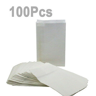 """MS 100 Bags Big Value White Paper Crafting Bags Size 5""""X 7-3/4"""" X 2"""""""