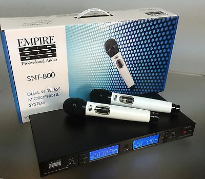 Empire Professional Audio Dual Wireless Hand Held Microphone Set. White. UHF.