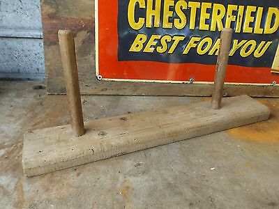 vintage old 2 rail peg wooden coat hanger rustic country charm