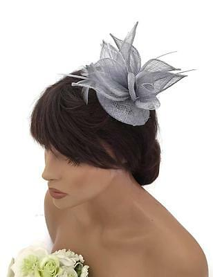 Elegant Silver Grey Rose Flower Design Hair Clip Fascinator with Feathers Races