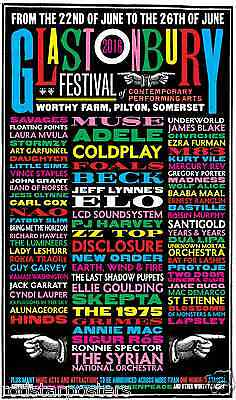 0515 Vintage Music Poster Art - Glastonbury  2016