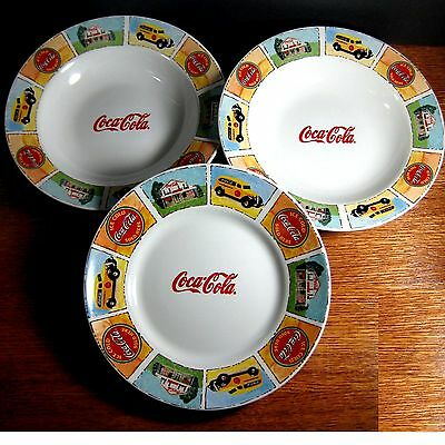 Coca Cola Good Old Days 2 Rim Soup Bowls 1 Salad Plate Coke Gibson Yellow Truck