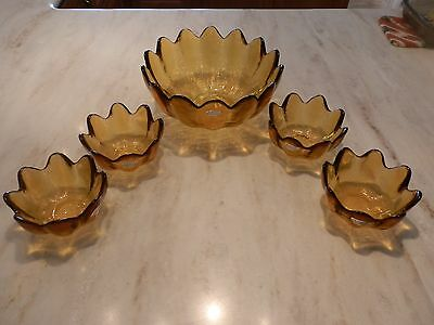 Vintage Blenko Handcraft Glass Bowl & 4 small bowls  -  REDUCED