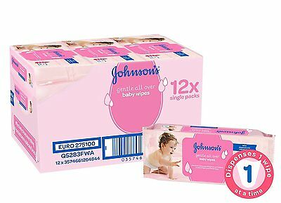 Johnson's Gentle All Over Baby Wipes - Pack of 12, 56 Wipes Total 672 Wipes NEW