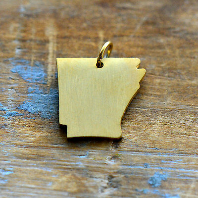 Arkansas State Charm - Brushed 24k Gold Plated Stainless Steel Pendant - Minimal