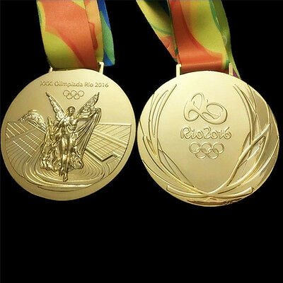 RIO 2016 Olympic Souvenir Gold Medal with Ribbon Commemorative Collectible Medal