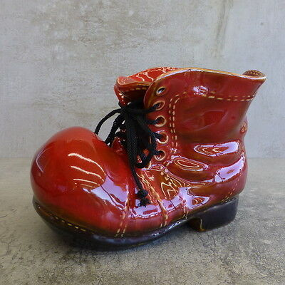 Retro Ceramic Boot Planter Red and Black Laced Old Shoe Vintage 12cm x 17cm long