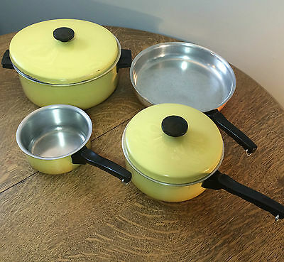 Vita Seal Health Cookware Toronto Harvest Gold Set Pan & Pots VTG 70's Aluminum