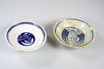 Antique Chinese Qing Dynasty Pair Of Small Blue And White Hand Painted Dish