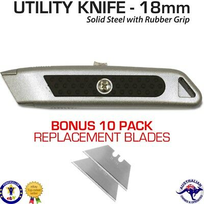 Retractable Safety Blade Utility Stanley Knife - Bonus 10 x Sharp 18mm Blades
