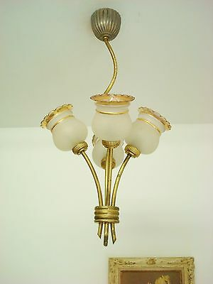 LOVELY VINTAGE FRENCH 1950's CHANDELIER LIGHT TOLE TOLEWARE GLASS TULIPS RETRO