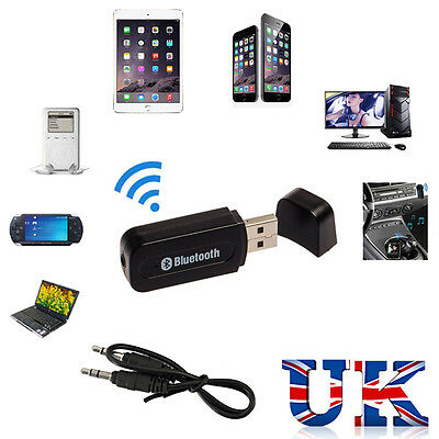 3.5mm Wireless USB Bluetooth Receiver Stereo Audio Music Speaker Adapter AUX Car