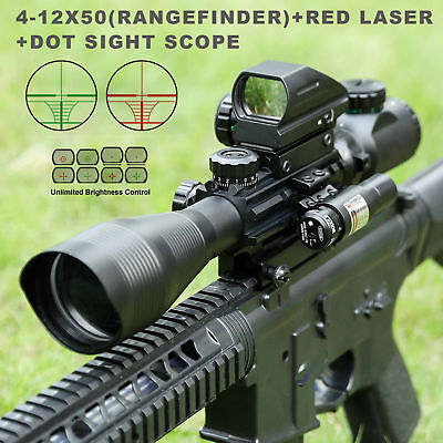 4-12X50EG Hunting Rangefinder Reticle Riflescope w/ Red Laser Sight &Dot Sight