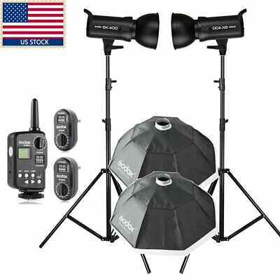 800w Godox 2 x SK400 Studio Strobe Flash Light Bowen Mount Softbox Kit F Wedding