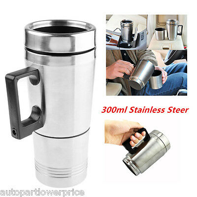Stainless Steel Car Heated Thermos Warm Travel Electric Mug Flask Kettle 300ml