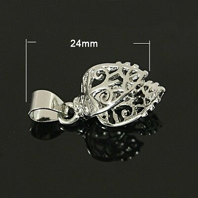 5pcs Pick Pinch Bails Heart Connector For Charms Pendants Necklace Making 24mm