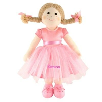 Personalised Embroidered Girls Ballerina Rag Doll 42cms, new baby gift