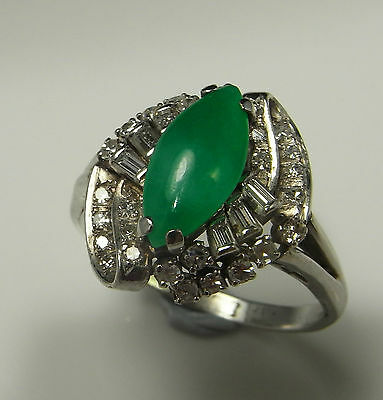 Jadeite Jade Diamond Ring 18K Gold Green Cabochon Art Deco 1920s 1930s Gatsby