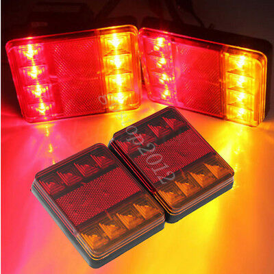 2x Trailer Truck ABS 12V 8LED Stop Rear Tail Brake Indicator Red &Amber Lights