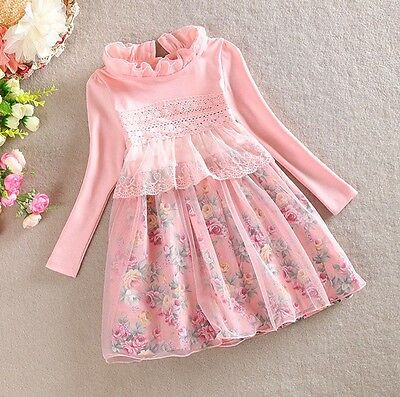 New Baby Girl Floral Dress Toddler Clothes Size:2,3,4,5,6,7,8 Gift