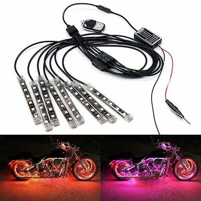 Remote 8 Strip Lamp SMD RGB LED Light for Motorcycle Car ATV SUV Multi Color