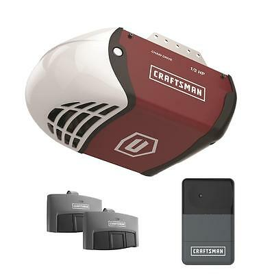 Craftsman 1/2 HP Chain Drive Garage Door Opener System w 2 Remotes, Rail, Chain