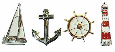 Set of Nautical Related Metal Badges Yacht Ships Anchor Lighthouse & Helm Wheel