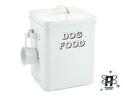 Vintage Retro Style White Enamel Large Dog Food Storage Container Tin New