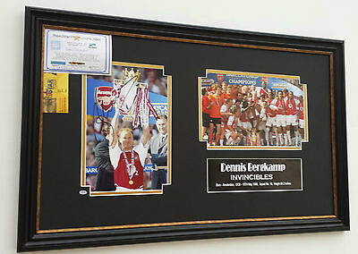 *** Rare DENNIS BERGKAMP of Arsenal Signed PHOTO PICTURE INVINCIBLES Display ***