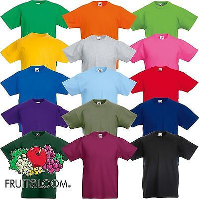 3 Pack Fruit of the Loom Cotton Plain Childrens Boys Girls T Shirts Wholesale