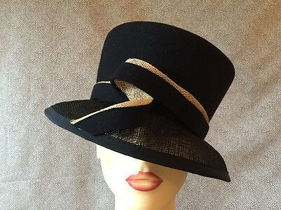Ladies Formal Occasion Wedding Races Black & Cream Wool Hat By Gold