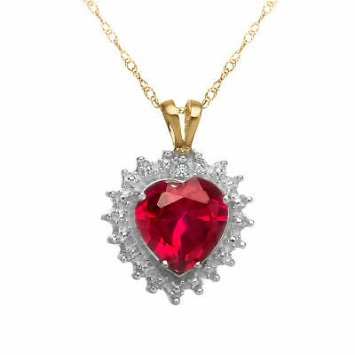 1 3/4 ct Created Ruby Heart Pendant with Diamond in 10K Gold