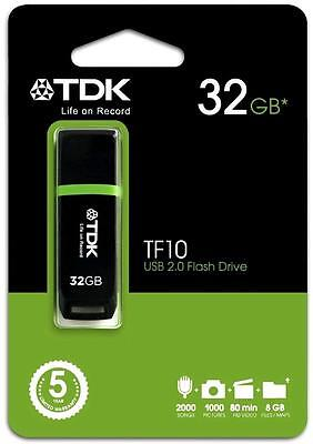 TDK TF10 32GB Flash Drive 2000 Songs 1000 Pictures 80mins HD Video 8GB Files