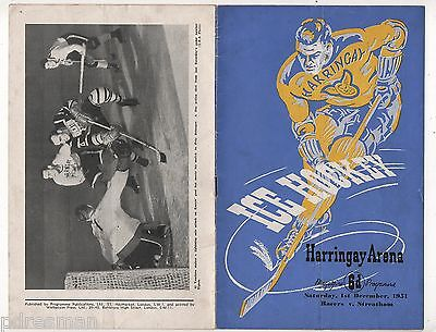 Harringay Racers V Streatham -  1951 Harringay Arena  Ice Hockey Programme.