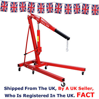 2 Two Ton Tonne Hydraulic Crane Folding Engine Stand Lift Free Next Day Delivery