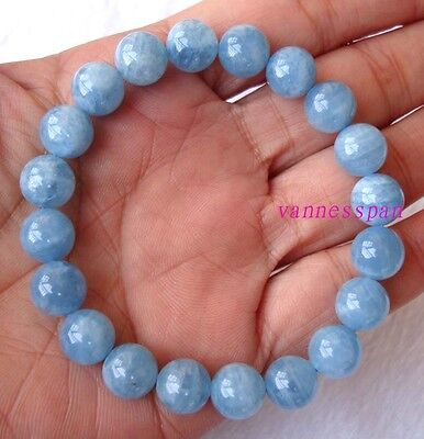 Natural Aquamarine Round Beads Stretch Bracelet 9mm