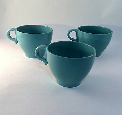 Melmac Tea Cups Melamine Made in Canada Robin's Egg Blue Vintage  Set of 3