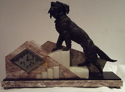 antique french clock art deco vintage dog hunting XXth movement paris marti med