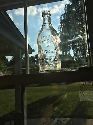 1930s Antique Citrate of Magnesia CLEAR Bottle MARYLAND GLASS CORP. -BLOCK FONT