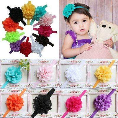 12pcs Baby Headband Cute Infant Girl Toddler Flower Hair Bow Band Accessories US