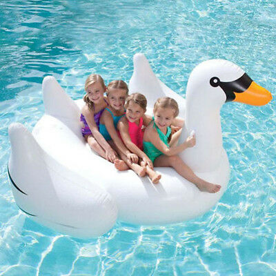 White Summer Lake Swimming Pool Giant Rideable Swan Inflatable Float Toy