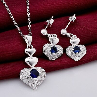 New XMAS gift 925 silver neckalce earring set silver jewellery birthday gift+Box